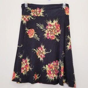 Lularoe XL Azure Skirt Black Floral